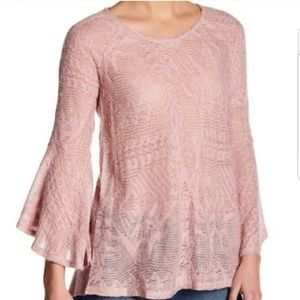 JessicaSimpsonFuzzy Dusty Rose Bell Sleeve Sweater